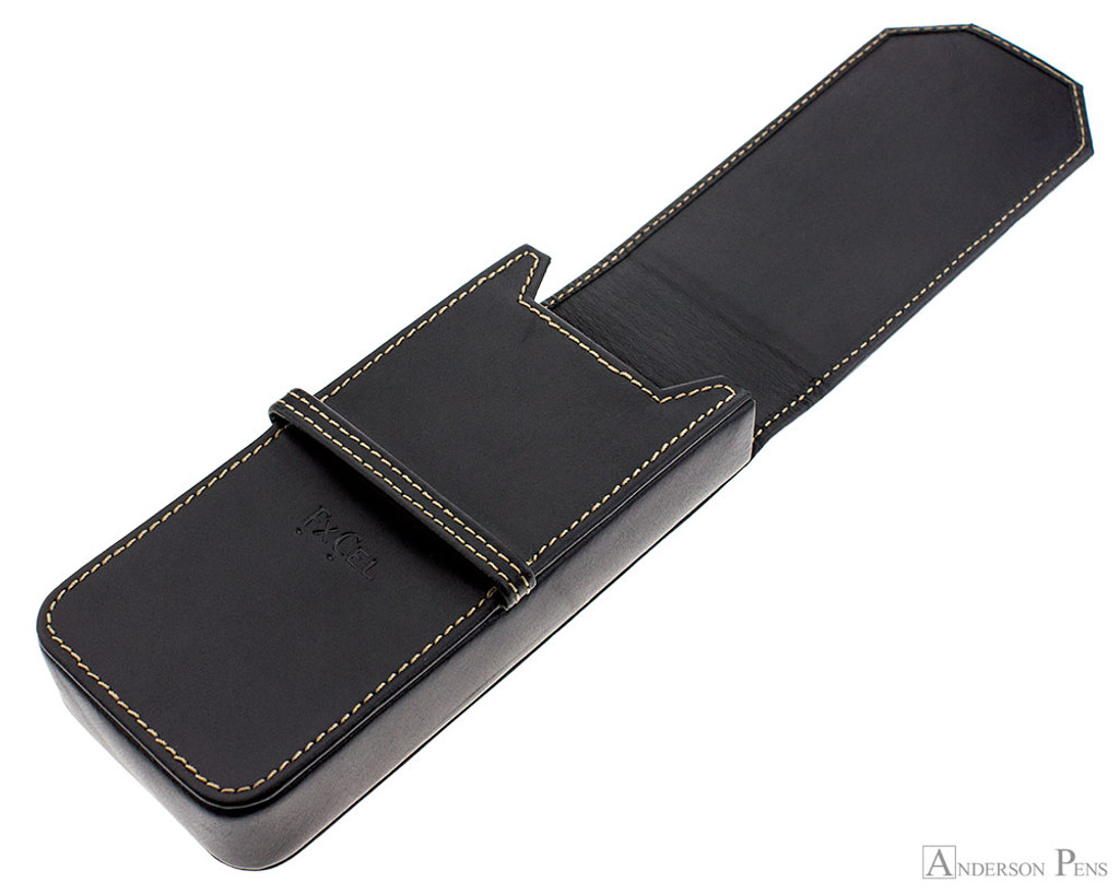 Franklin-Christoph Three Pen Case - Black - Open