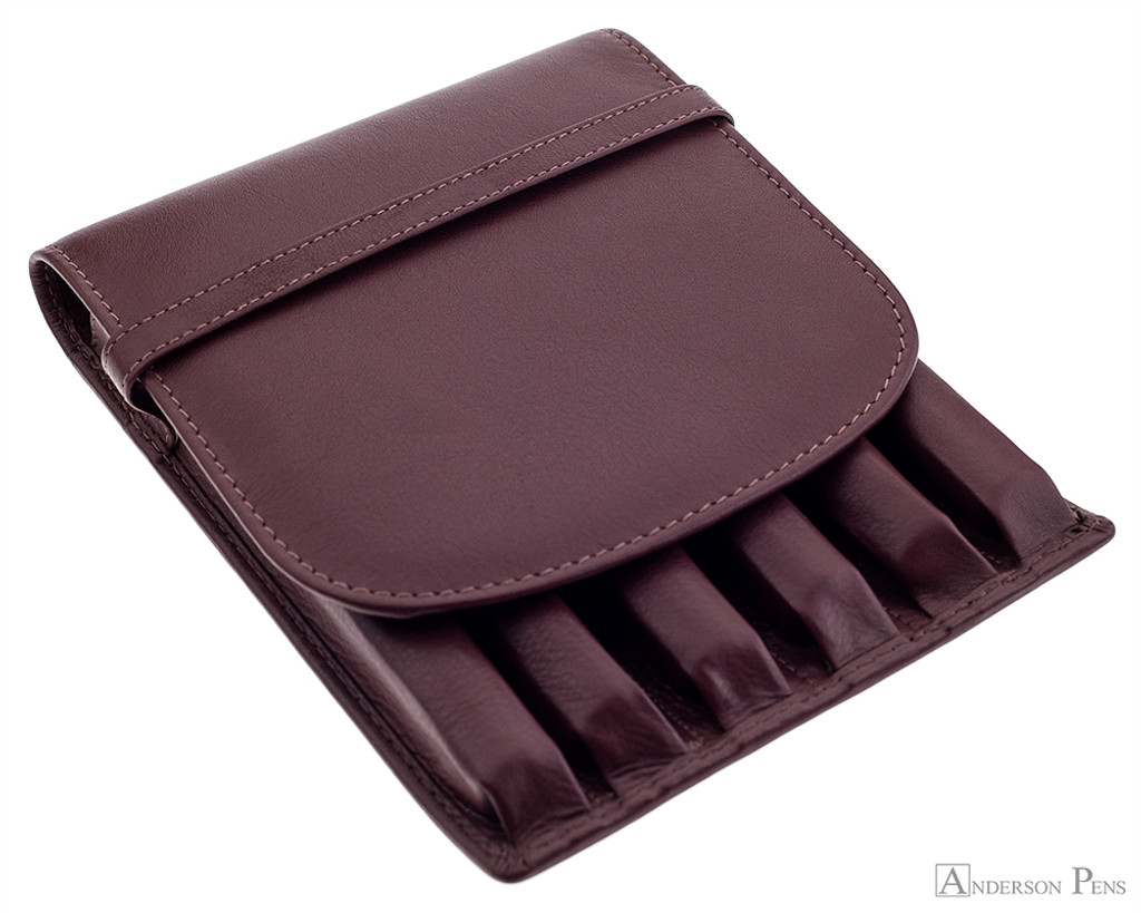 Girologio 6 Pen Case - Brown Leather