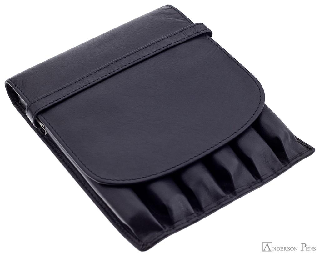Girologio 6 Pen Case - Black Leather
