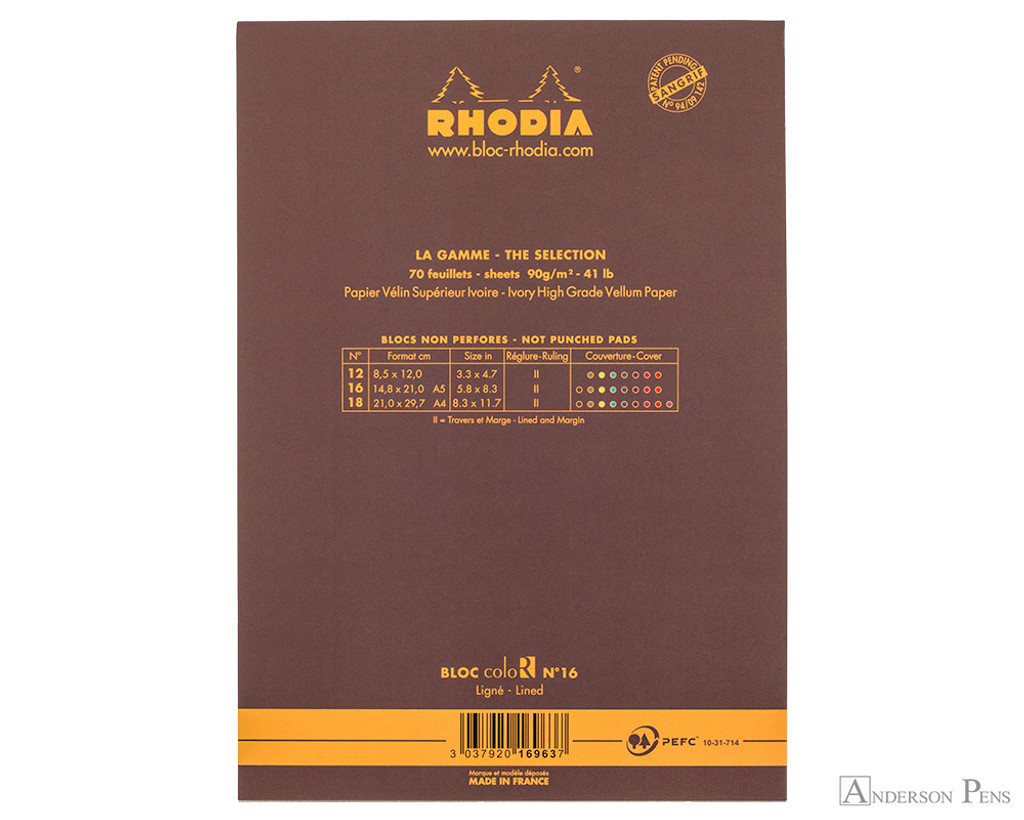 Rhodia No. 16 Premium Notepad - A5, Lined - Chocolate back cover