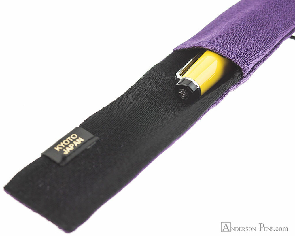 Taccia Kimono Chirimen Pen Wrap - Single, Lilac - Open with Pen