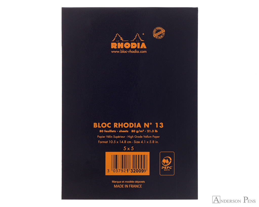 Rhodia No. 13 Staplebound Notepad - A6, Graph - Black back cover