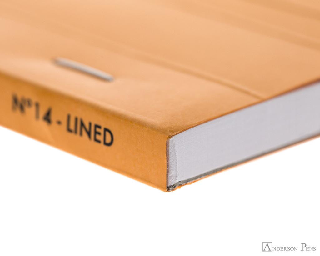 Rhodia No. 14 Staplebound Notepad - 4.375 x 6.375, Lined - Orange binding detail