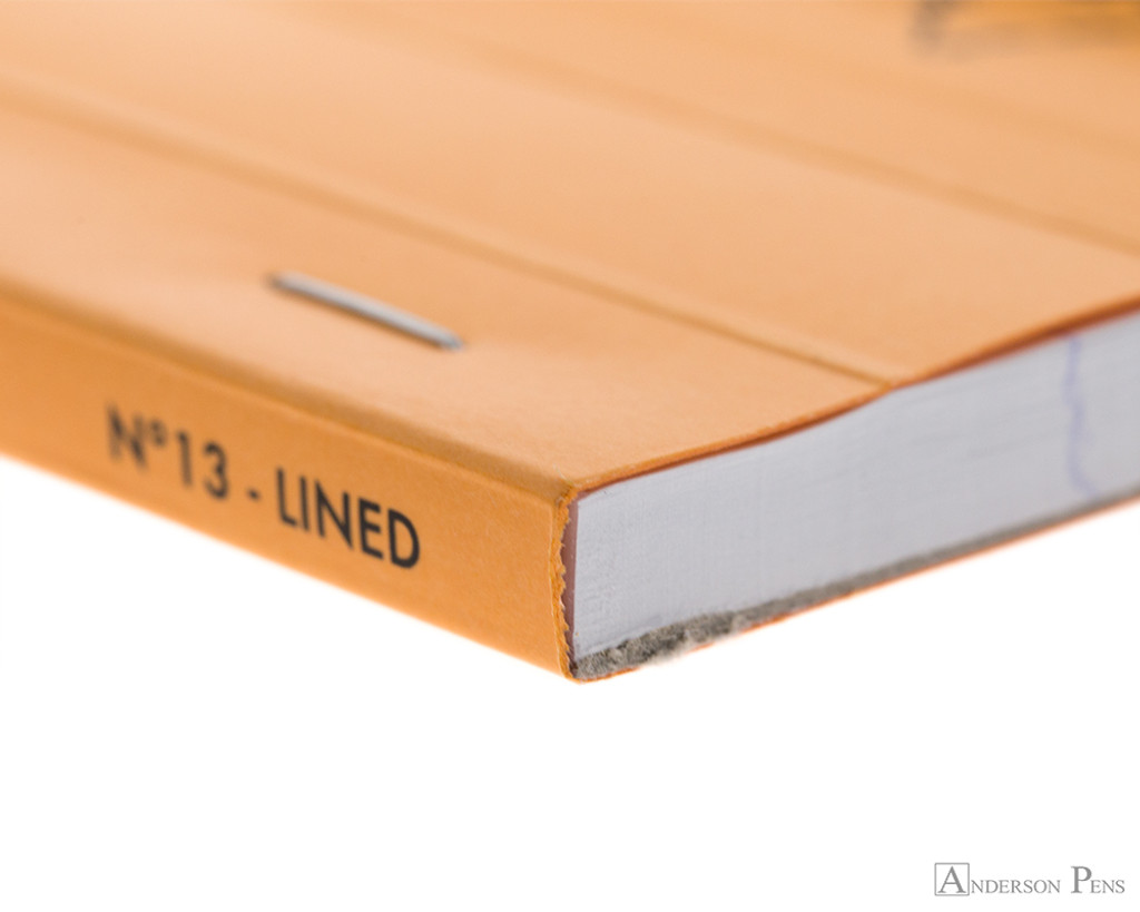 Rhodia No. 13 Staplebound Notepad - A6, Lined - Orange binding detail