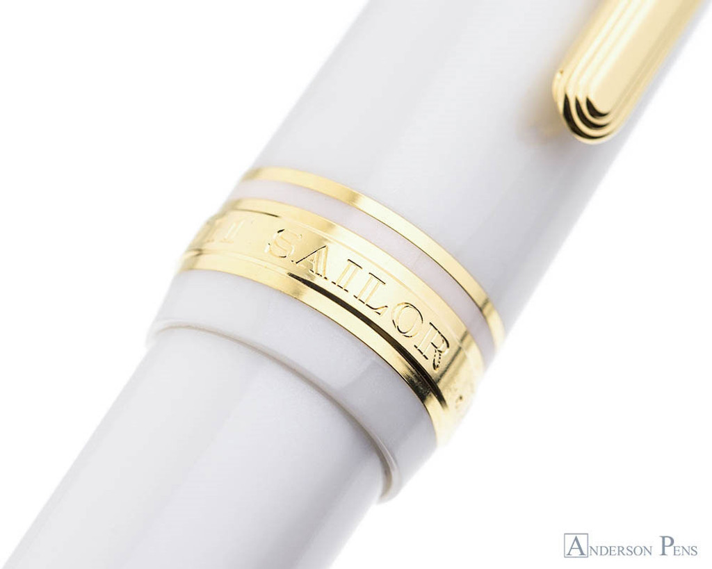 Sailor 1911 Large Fountain Pen - White with Gold Trim - Cap Band