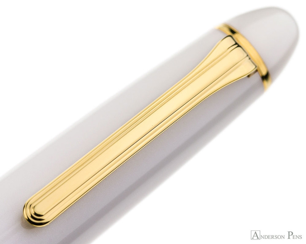 Sailor 1911 Large Ballpoint - White with Gold Trim - Clip