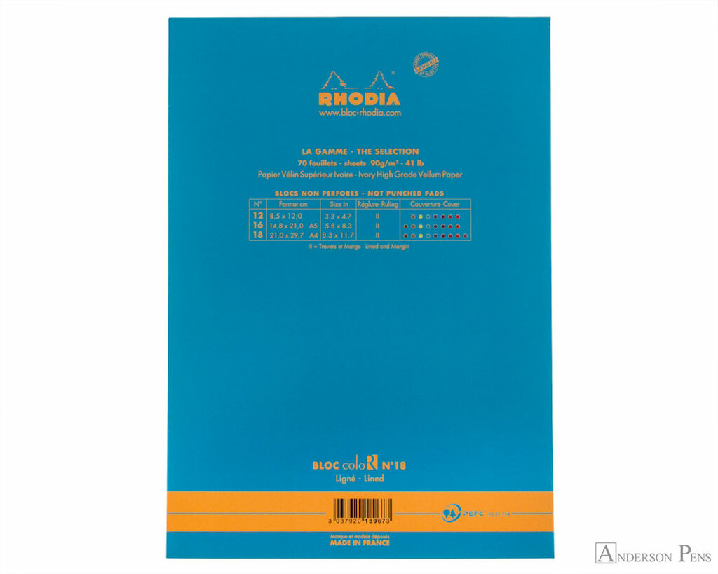 Rhodia No. 18 Premium Notepad - A4, Lined - Turquoise back cover
