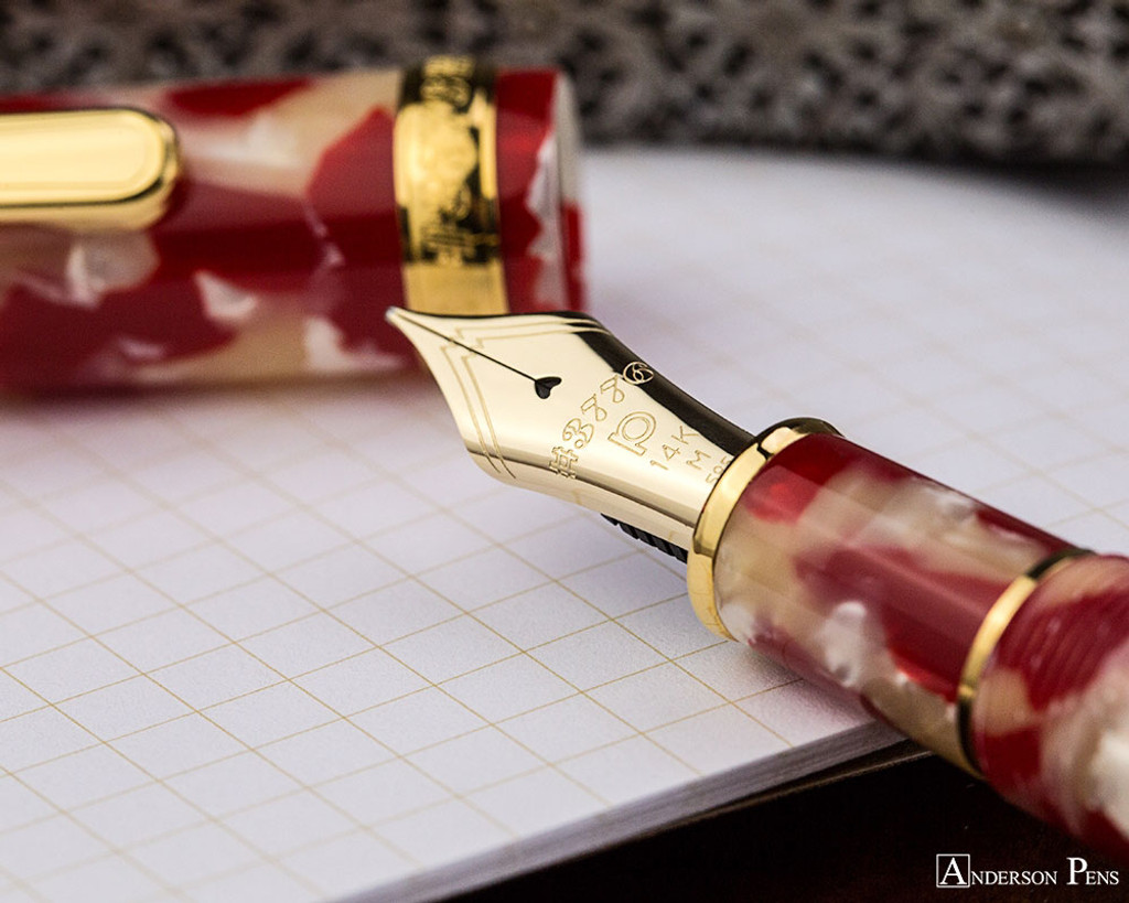 Platinum 3776 Celluloid Fountain Pen - Koi - Nib on Notebook