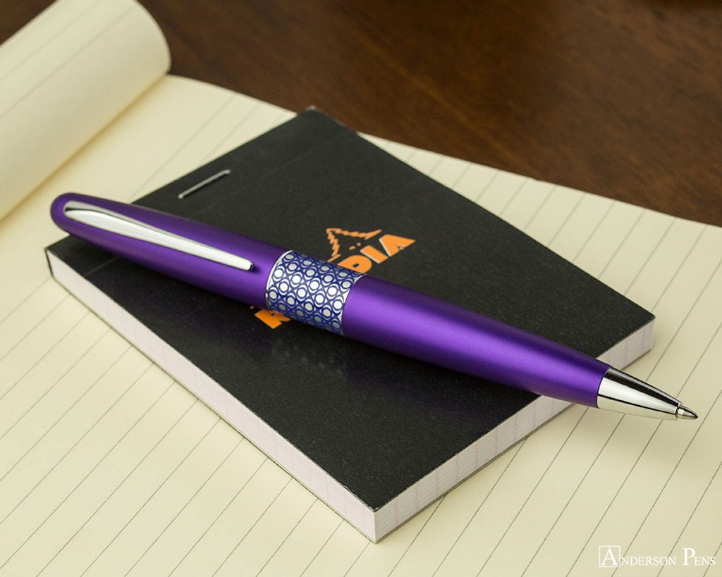 Pilot Metropolitan Ballpoint - Retro Pop Purple - Open on Notebook