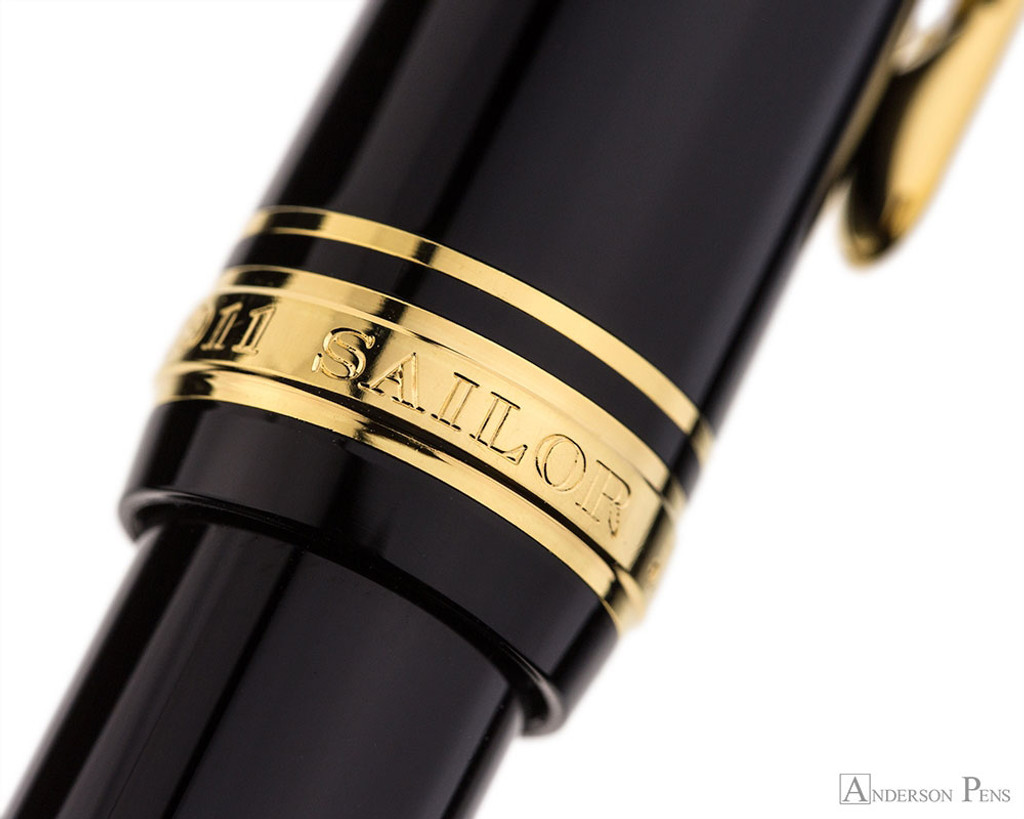 Sailor 1911 Large Ballpoint - Black with Gold Trim - Cap Band