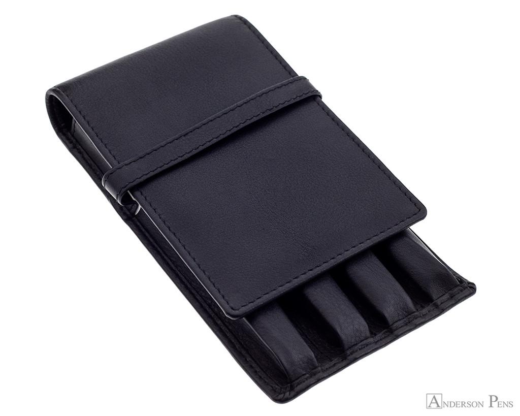 Girologio 4 Pen Case - Black Leather