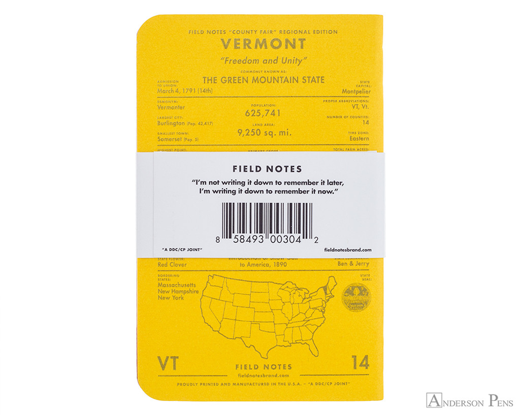Field Notes Notebooks - County Fair, Vermont (3 Pack) - Back