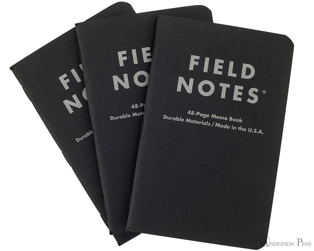 Field Notes Notebooks - Pitch Black, Lined (3 Pack)