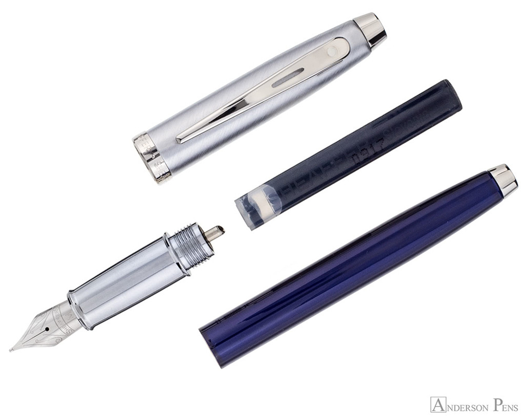 Sheaffer 100 Fountain Pen - Blue Barrel with Brushed Chrome Cap - Parted Out