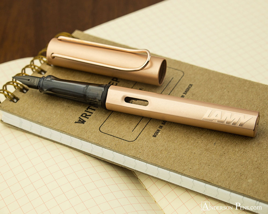 Lamy LX Fountain Pen - Rose Gold - On Notebook Open