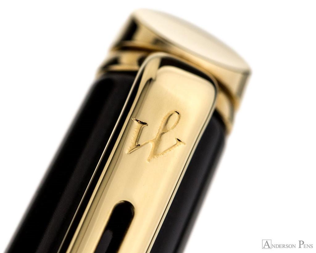 Waterman Hemisphere Ballpoint - Black with Gold Trim - Clip Imprint