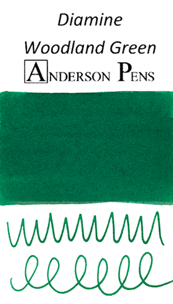 Diamine Woodland Green Ink Color Swab