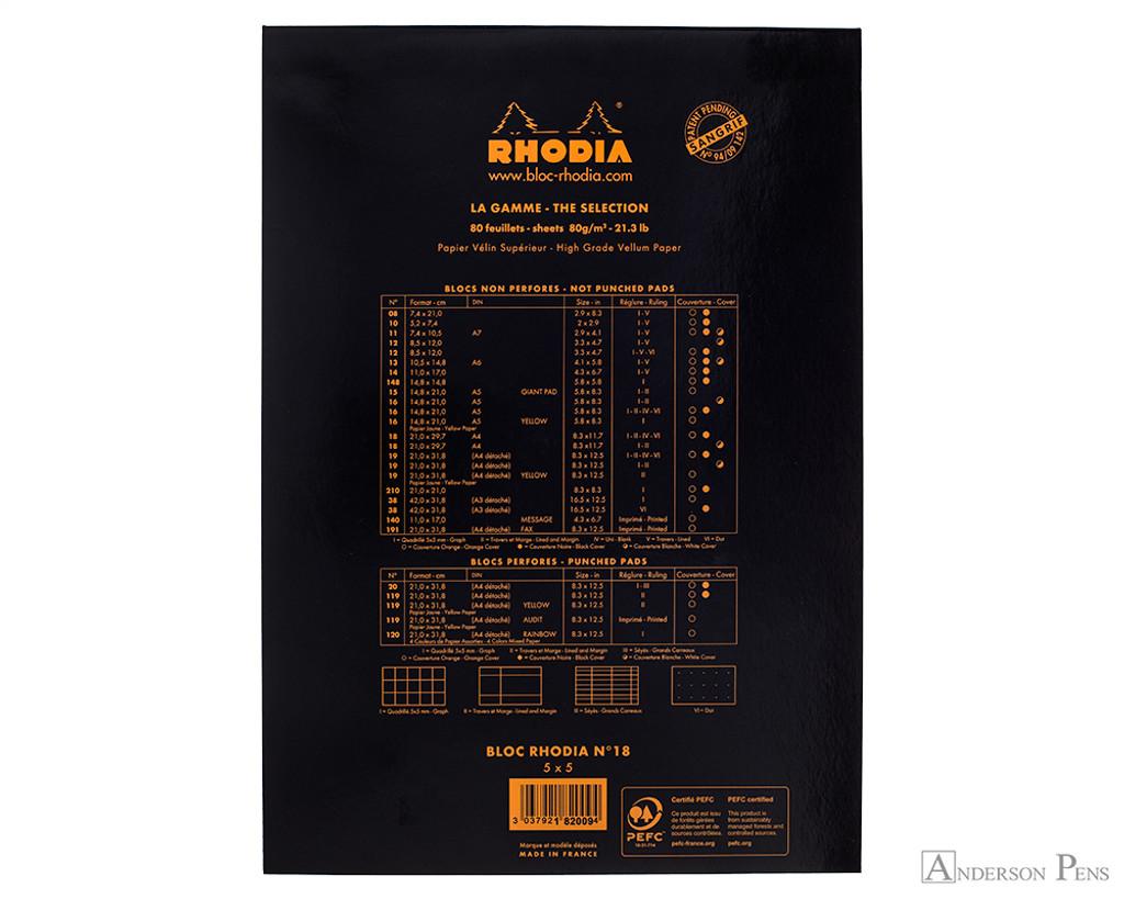 Rhodia No. 18 Staplebound Notepad - A4, Graph - Black back cover