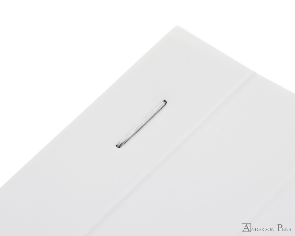 Rhodia No. 13 Staplebound Notepad - A6, Lined - Ice White staple detail
