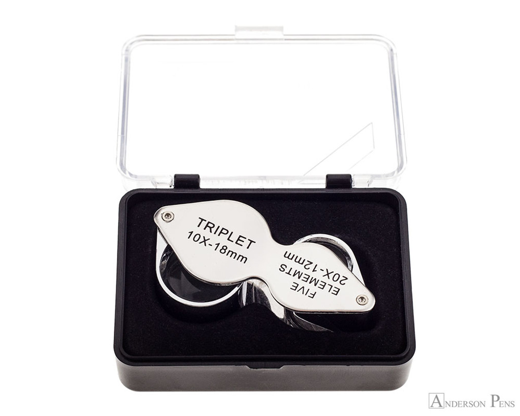 10x-20x Dual Sided Magnifying Loupe in open case
