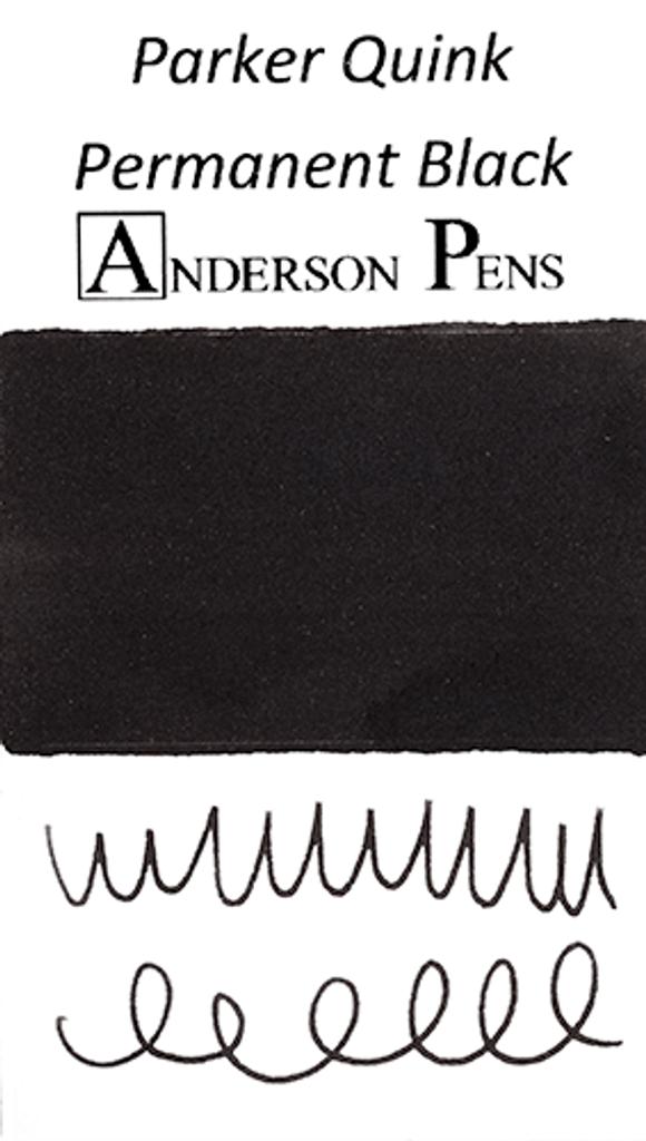 Parker Quink Permanent Black Ink Sample color swab