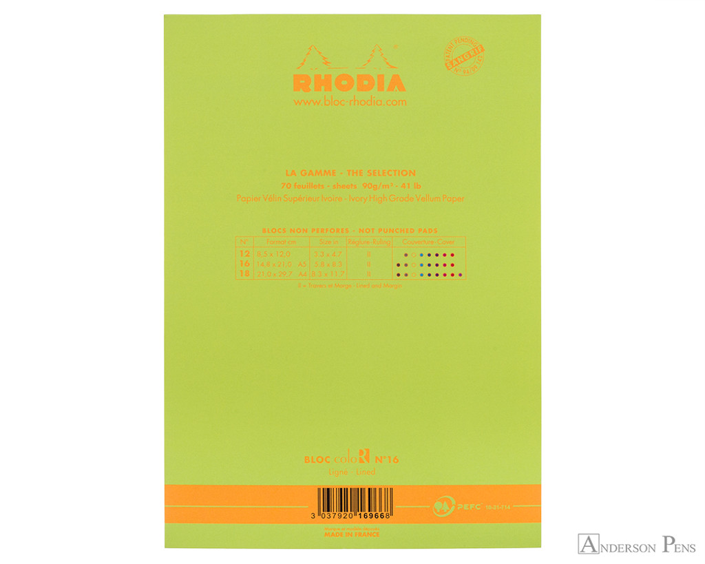Rhodia No. 16 Premium Notepad - A5, Lined - Anis Green back cover