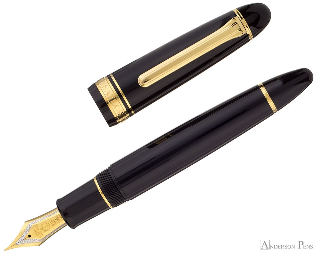 Sailor King of Pen Fountain Pen - Black with Gold Trim - Open