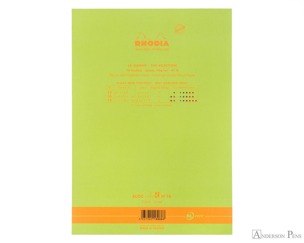Rhodia No. 18 Premium Notepad - A4, Lined - Anis Green back cover