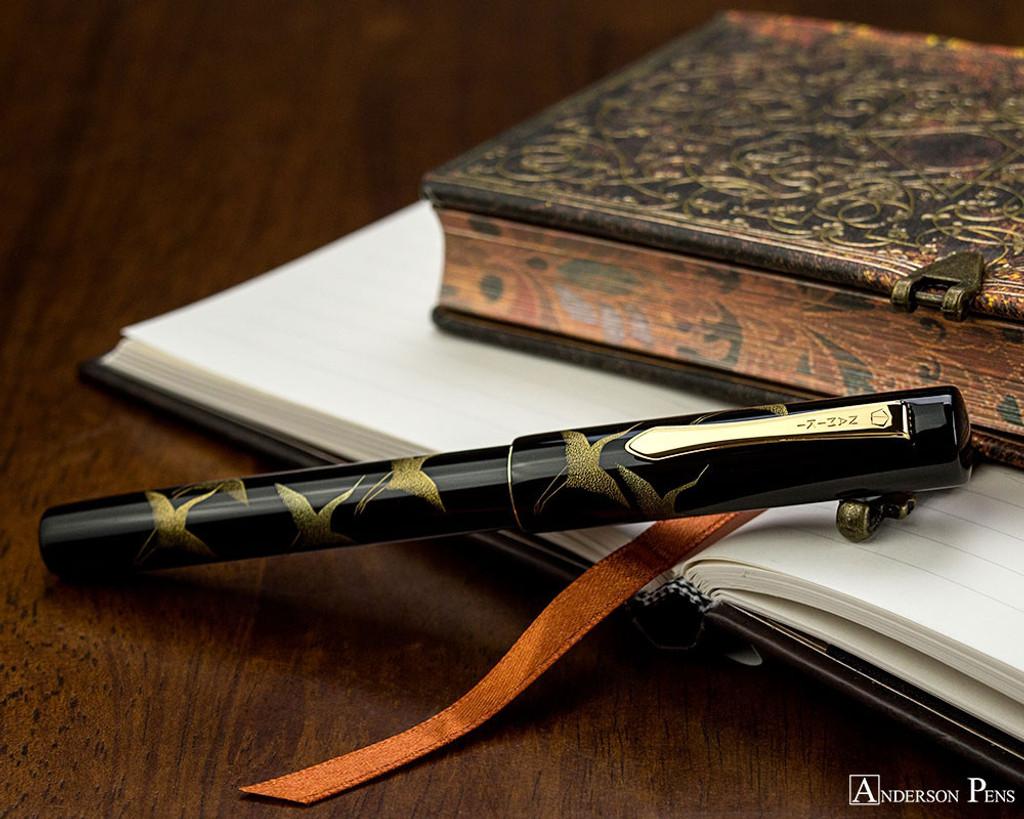 Namiki Chinkin Fountain Pen - Crane - Closed on Notebook