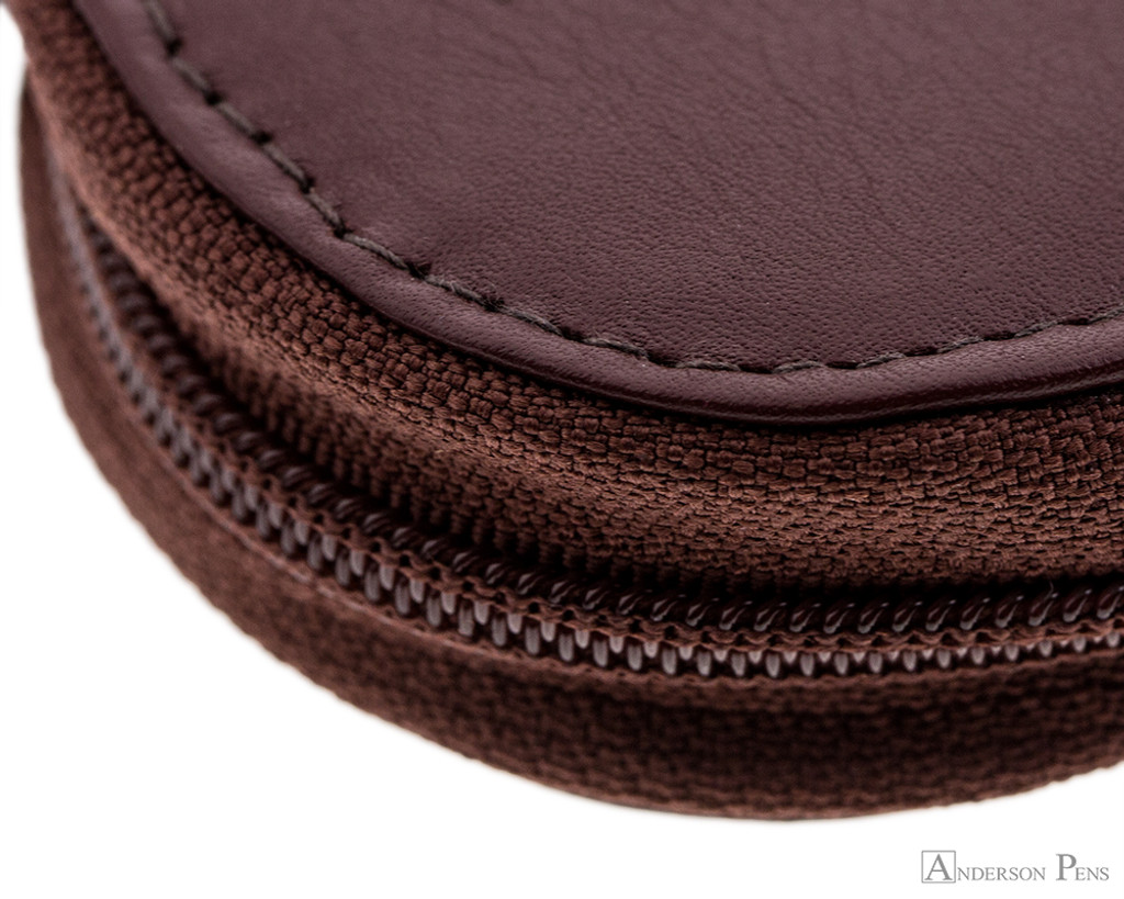 Girologio 3 Pen Zipper Case - Brown Leather - Zipper and Stitching