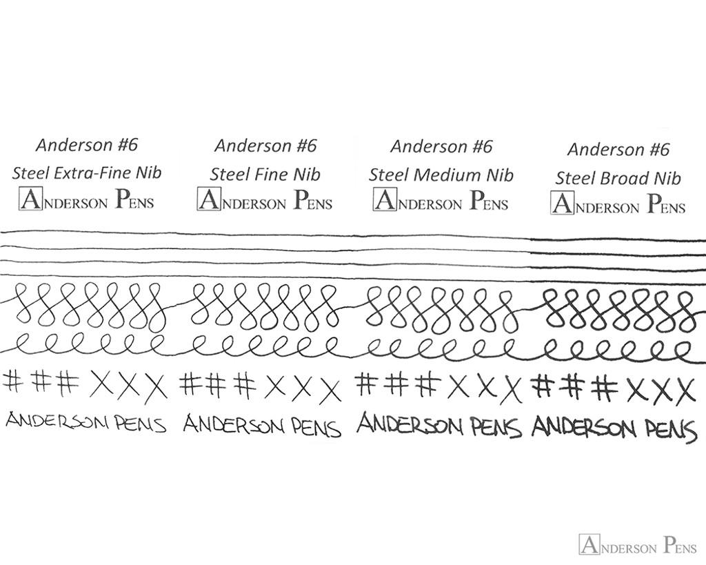 Anderson Pens #6 Steel Nib - Silver, 1.1mm Stub - Nib Card
