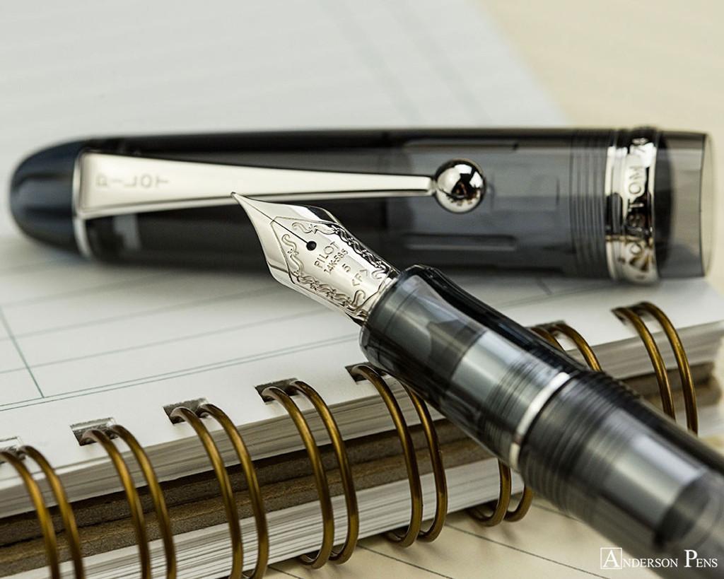 Pilot Custom 74 Fountain Pen - Smoke - Nib on Notebook