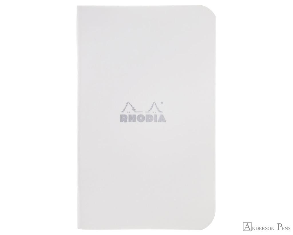 Rhodia Staplebound Notebook - 3 x 4.75, Graph - Ice White