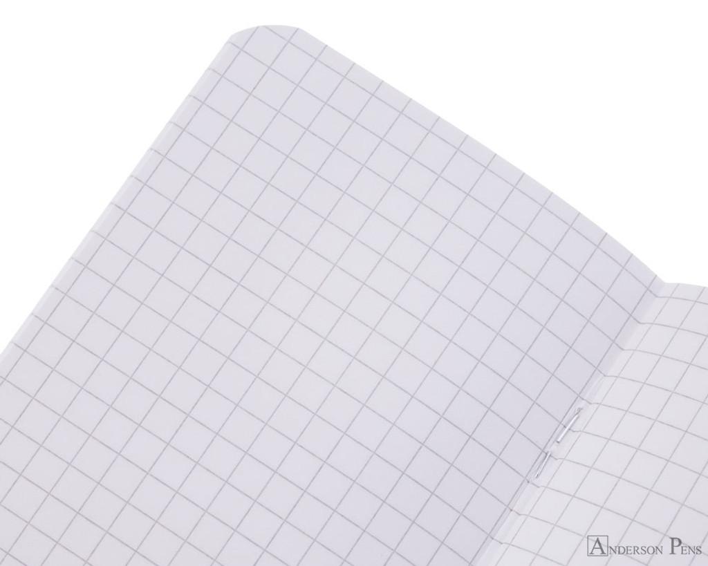 Rhodia Staplebound Notebook - 3 x 4.75, Graph - Ice White open