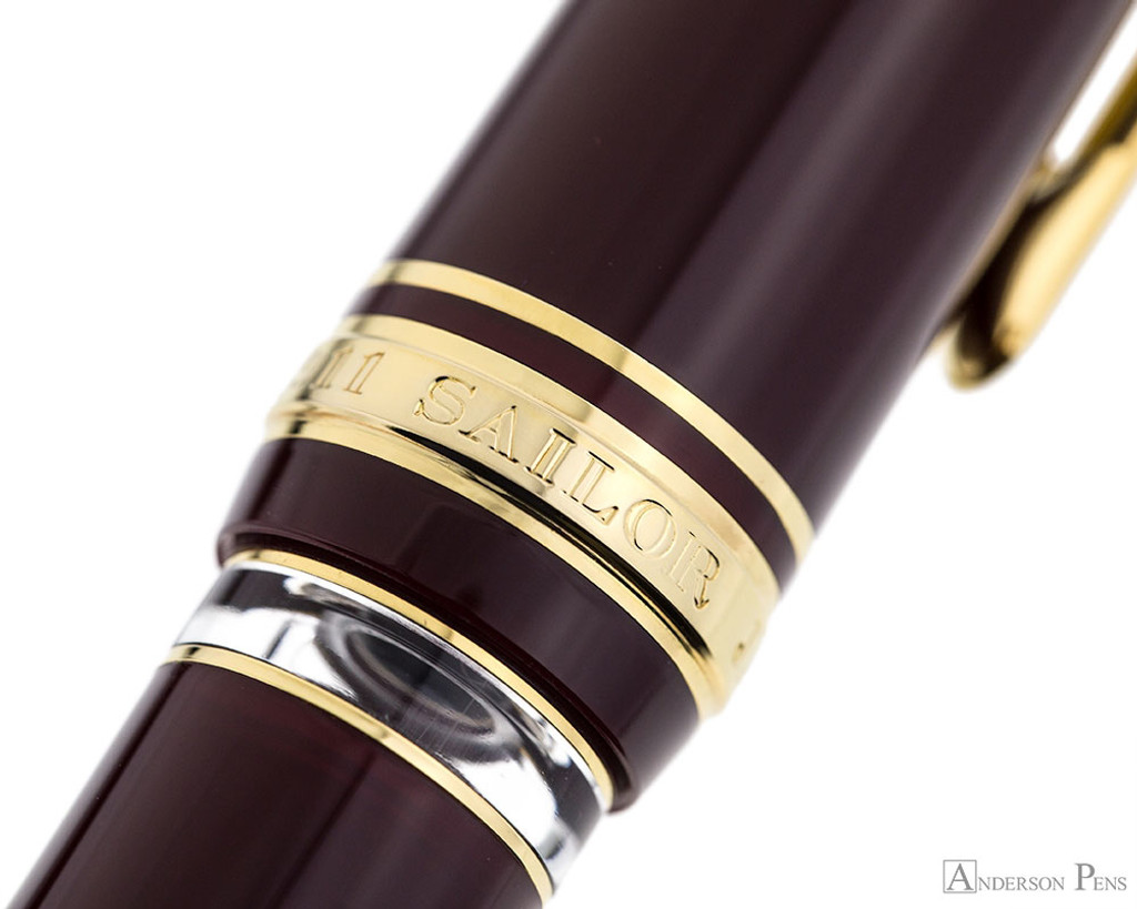 Sailor Pro Gear Realo Fountain Pen - Maroon with Gold Trim - Ink Window