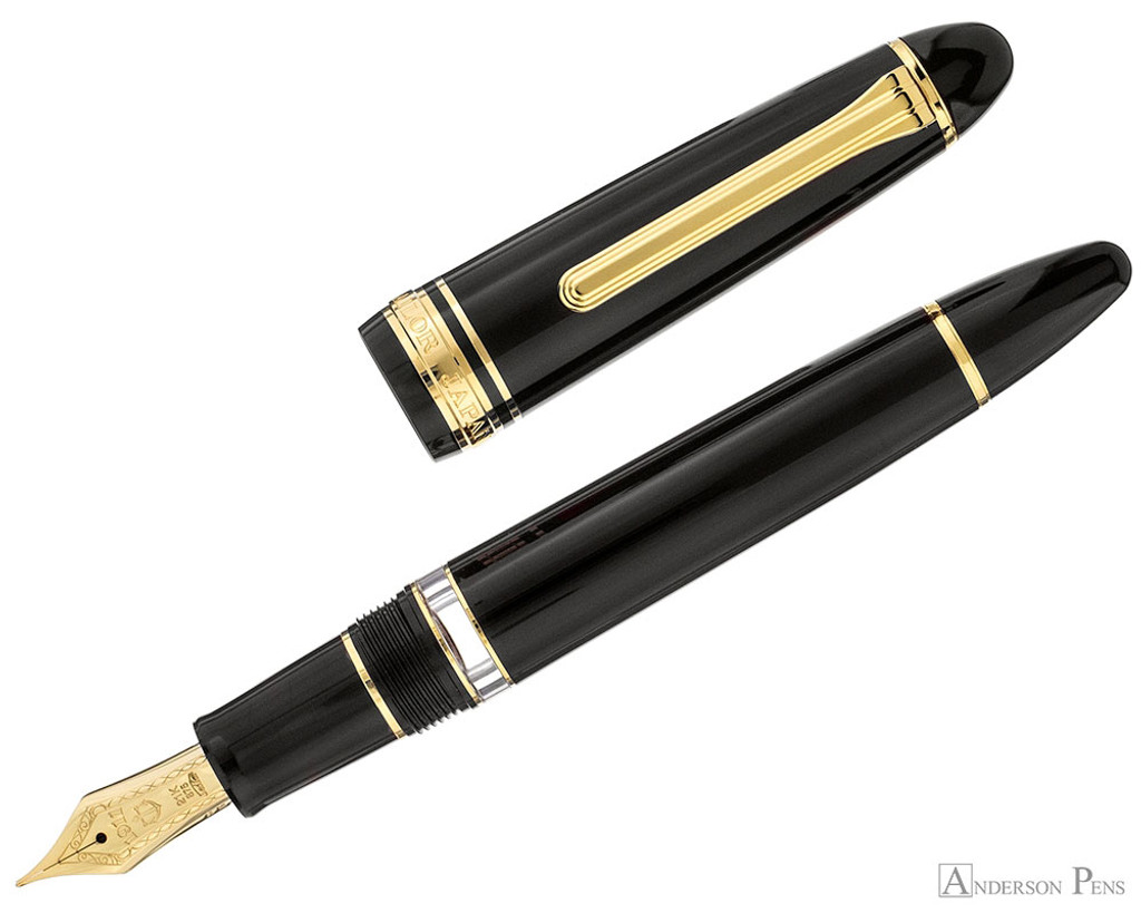 Sailor 1911 Realo Fountain Pen - Black with Gold Trim - Open