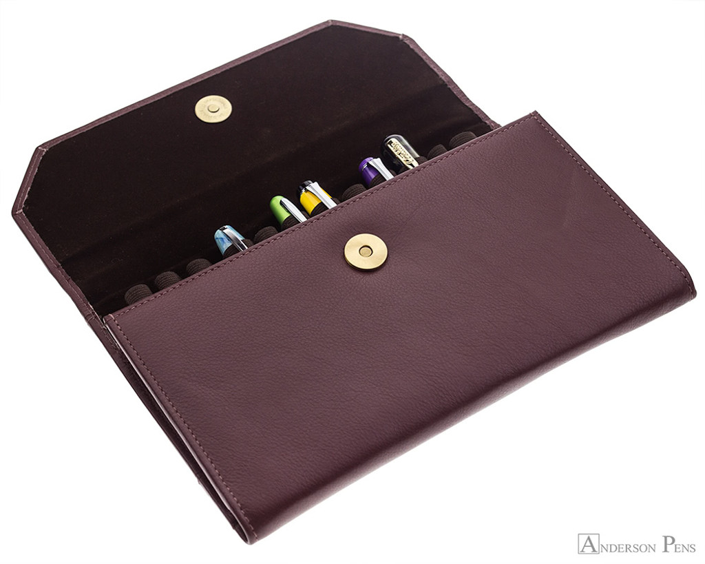 Girologio 12 Pen Case Portfolio - Brown Leather - Open with Pens