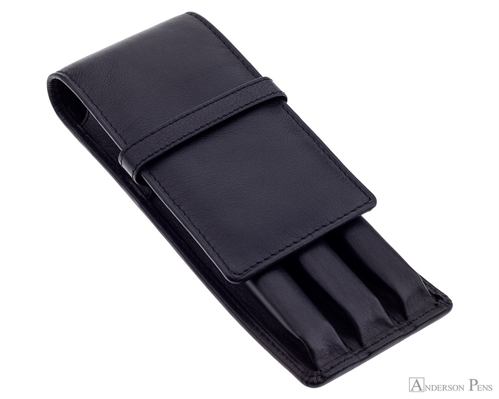 Girologio 3 Pen Case - Black Leather