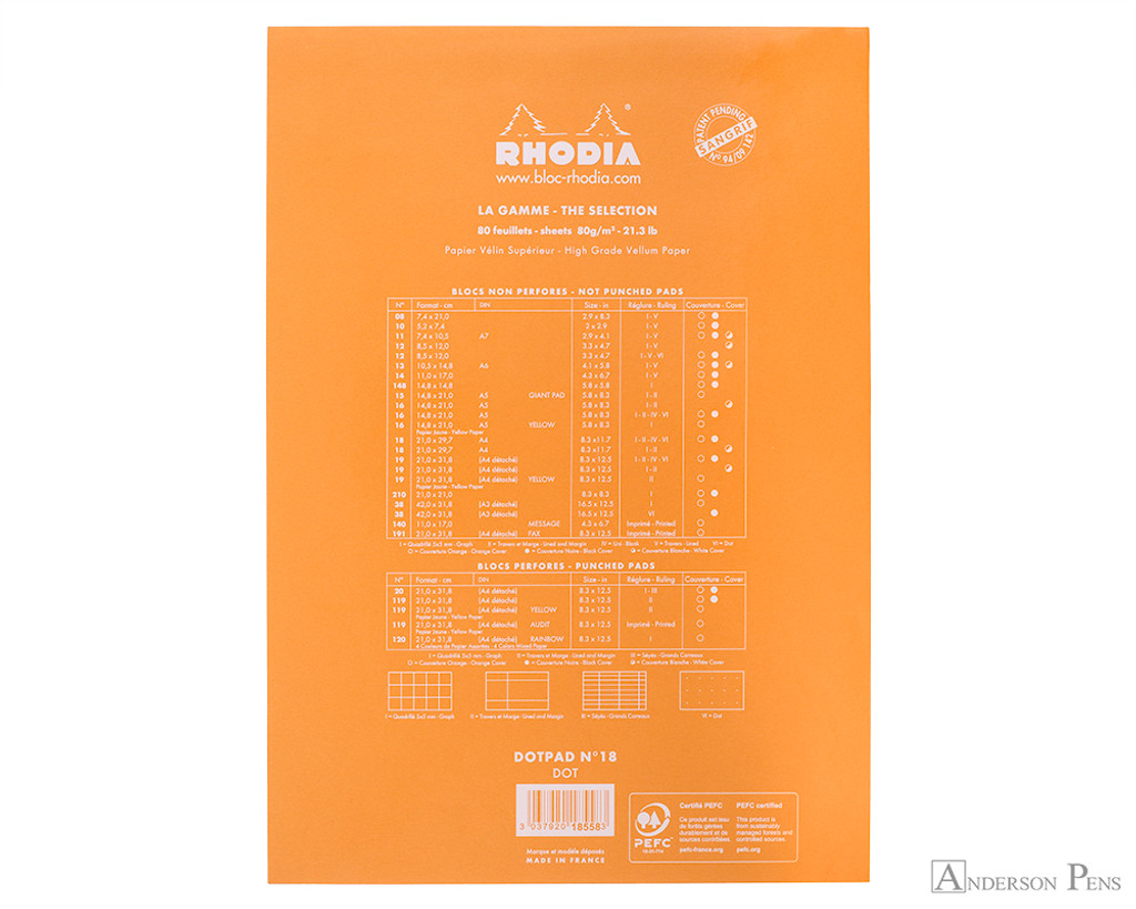 Rhodia No. 18 Staplebound Notepad - A4, Dot Grid - Orange back cover