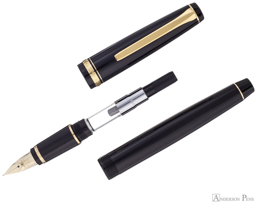 Pilot Falcon Fountain Pen - Black with Gold Trim - Parted Out