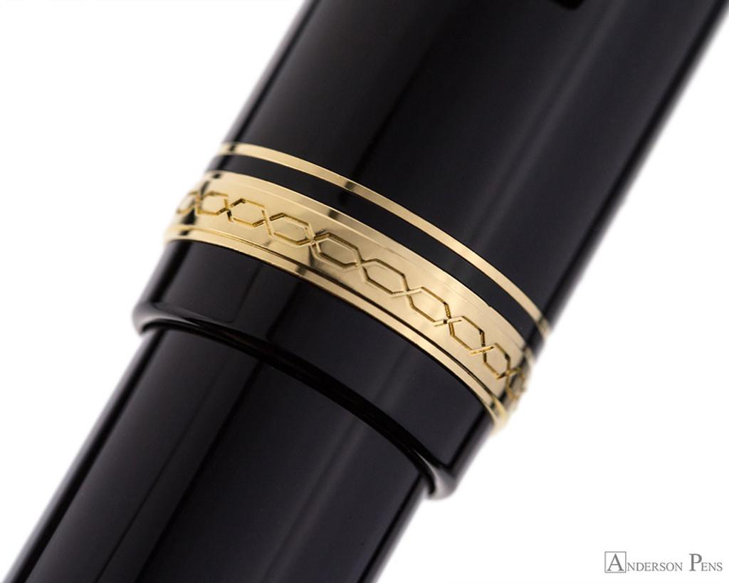 Pilot Falcon Fountain Pen - Black with Gold Trim - Cap Band
