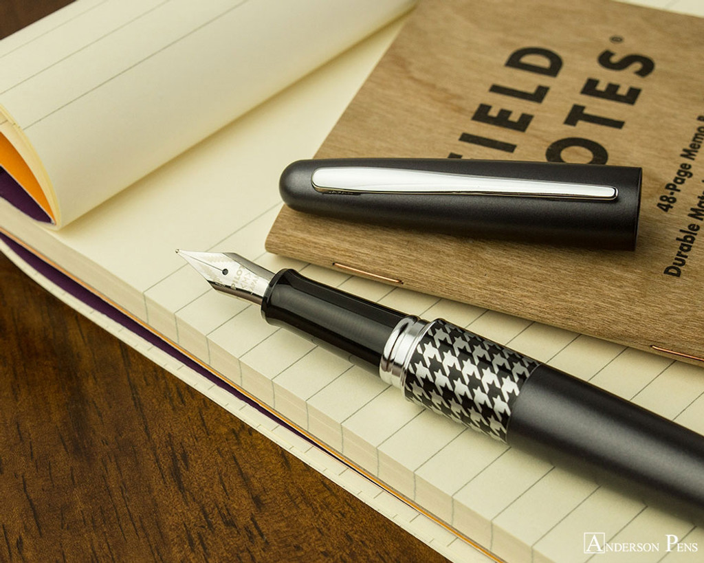 Pilot Metropolitan Fountain Pen - Retro Pop Gray - Open on Notebook