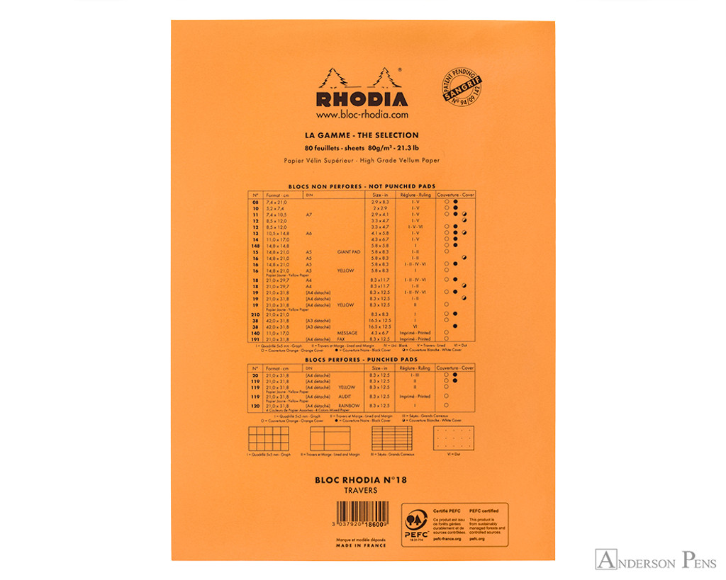 Rhodia No. 18 Staplebound Notepad - A4, Lined - Orange back