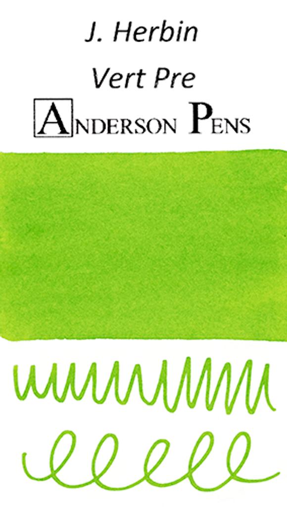 J. Herbin Vert Pre Ink Cartridges color swab