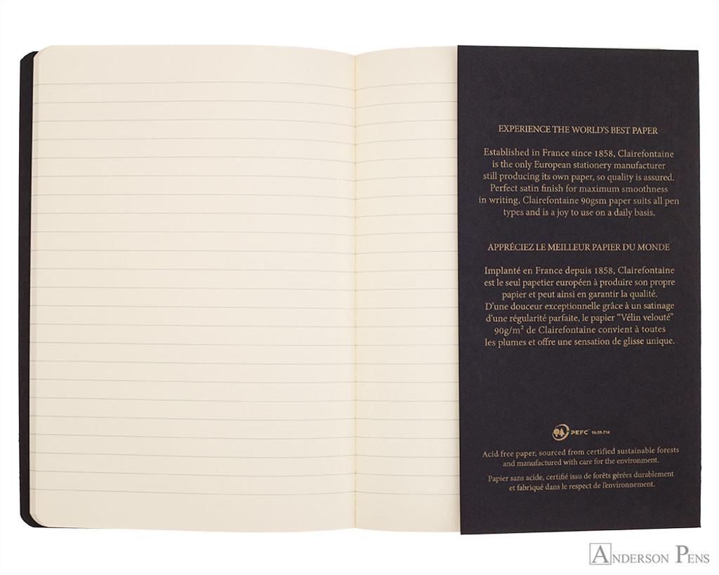 Clairefontaine Flying Spirit Notebook - A5, Lined - Black bookmark page