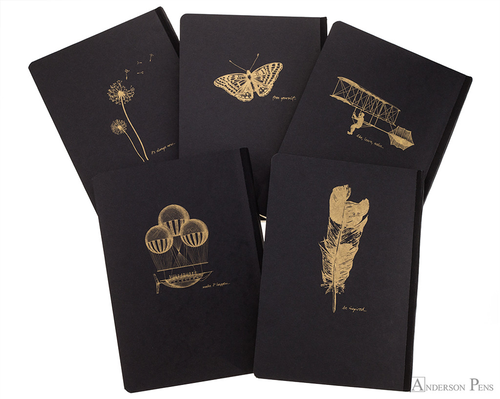 Clairefontaine Flying Spirit Clothbound Notebook - A5, Lined - Black all back cover images