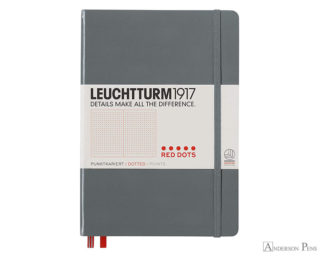 Leuchtturm1917 Notebook - A5, Red Dots - Anthracite