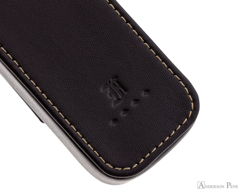 Franklin-Christoph 2 Pen Case - Brown - Stitching and Logo
