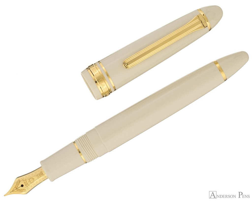 Sailor 1911 Standard Fountain Pen - Ivory with Gold Trim - Open