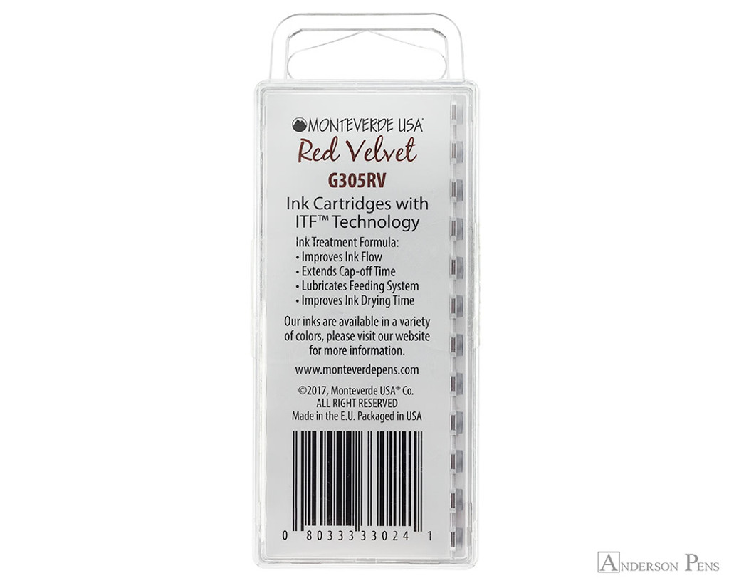 Monteverde Red Velvet Ink Cartridges (12 Pack)